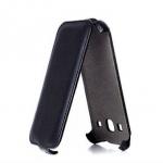 Чехол для Samsung Galaxy Core 2 (black) под кожу черный в техпаке