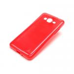 Cиликон.чехол для Samsung Galaxy J1 с жесткой основой прозрачно-красный в техпаке