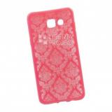 Силиконовый чехол для Samsung Galaxy A5 2016 TPU Цветочный узор (красный/прозрачный)
