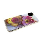 Силиконовый чехол Iphone 11 Pro цветочный принт с блестками и стразами, два больших цветка