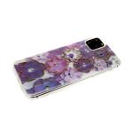 Силиконовый чехол Huawei Y6 2019 цветочный принт с блестками и страз, сиренево-фиолетовые цветы