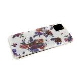 Силиконовый чехол Xiaomi Redmi 7a цветочный принт с блестками и страз, розочки и фиолетовые цветочки