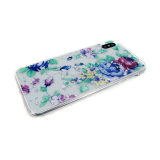 Задняя крышка Xiaomi Redmi Note 6 Pro цветы на прозрачном с фольгой, сине-фиолетовые