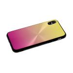 Задняя крышка Huawei Honor 8S двухцветная, эффект диска, желто-розовая