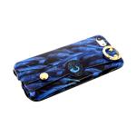Силиконовый чехол Samsung Galaxy A50 хлястик с кольцом, с рисунком, синие перья