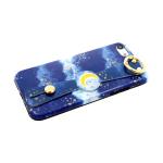 Силиконовый чехол Samsung Galaxy A50 хлястик с кольцом, с рисунком, звезды и луна
