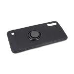 Силиконовый чехол Samsung Galaxy A50 кожа с кольцом, черный борт, черный