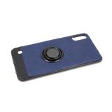 Силиконовый чехол Samsung A600 Galaxy A6 (2018) кожа с кольцом, черный борт, темно-синий