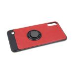 Силиконовый чехол Samsung J810F Galaxy J8 2018 кожа с кольцом, черный борт, красный