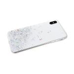 Силиконовый чехол Samsung Galaxy A50 однотонный с блестками-кружочками, белый