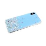 Силиконовый чехол Huawei Honor 9X однотонный с блестками-кружочками, голубой