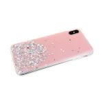 Силиконовый чехол Huawei Honor 20 Pro однотонный с блестками-кружочками, розовый