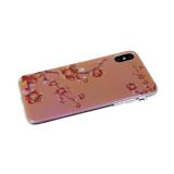 Силиконовый чехол Huawei Honor 20 перламутровый, прозрачный борт, цветочки на веточках