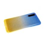 Силиконовый чехол Huawei Honor 20 плотные блестки с переходом, сине-желтый