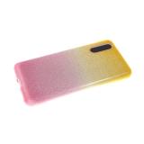 Силиконовый чехол Huawei Honor 20 плотные блестки с переходом, желто-розовый