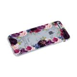 Силиконовый чехол Huawei P SMART Z прозрачный с цветочным принтом, фиолетово-белые розы