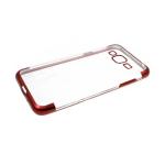 Силиконовый чехол Huawei Y7 2019 прозрачный с прерывестой окантовкой, красный