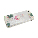 Чехол для Samsung Galaxy A20/A30 3D сердечки с жидкими блестками, белые-фламинго