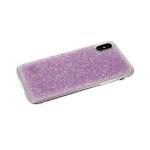 Силиконовый чехол Samsung Galaxy A50 крошка из страз, прозрачный борт,  розовый