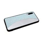 Задняя крышка Samsung Galaxy A40 мелкие пайетки с зеркальной вставкой, бирюзовая