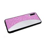 Задняя крышка Samsung Galaxy A40 мелкие пайетки с зеркальной вставкой, розовая