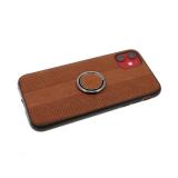 Силиконовый чехол Samsung Galaxy A20/A30 перфорированная эко-кожа, с кольцом, коричневый