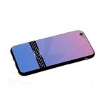 Задняя крышка Samsung Galaxy A30 пластик двухцвет, черная полоса в белый горох, розово-голубая