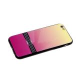 Задняя крышка Huawei Honor 9 Lite  пластик двухцвет, черная полоса в белый горох, желто-розовая