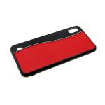 Задняя крышка Samsung Galaxy A40 пластик+кожа, с прострочкой, красная