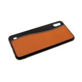 Задняя крышка Samsung Galaxy A40 пластик+кожа, с прострочкой, светло-коричневая