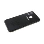 Задняя крышка Samsung Galaxy A40 пластик с эко-кожей, ГЕРБ РФ, черная