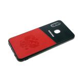 Задняя крышка Samsung Galaxy A40 пластик с эко-кожей, ГЕРБ РФ, красная