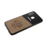 Задняя крышка Samsung Galaxy A40 пластик с эко-кожей, ГЕРБ РФ, серая