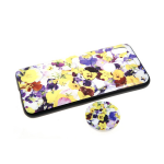 Задняя крышка Samsung Galaxy A40 пластик с принтом, попсокет, желто-фиолетовые цветочки