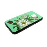 Задняя крышка Samsung J810F Galaxy J8 2018 почтовая открытка с цветами, зеленая