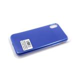 Силиконовый чехол Samsung Galaxy A20/A30 с металическим ободком, без лого, в блистере, синий