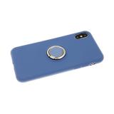 Силиконовый чехол Samsung Galaxy A20/A30 Soft touch матовый с кольцом, синий