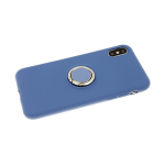 Силиконовый чехол Samsung Galaxy A40 Soft touch матовый с кольцом, синий