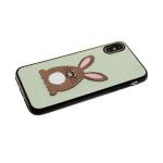 Силиконовый чехол Huawei Y6 2018/7A Pro текстильный, с тактильным кроликом, салатовый