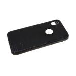 Силиконовый чехол Iphone XR 6.1 эко-кожа глянцевая, ребристый, черный
