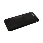 Силиконовый чехол Xiaomi Redmi Note 7 эко-кожа с карманом, черный