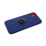 Силиконовый чехол Samsung Galaxy A10s мягкий Soft touch с кольцом, темно-синий