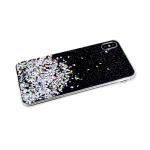 Силиконовый чехол Samsung Galaxy A50 однотонный с блестками-кружочками, черный