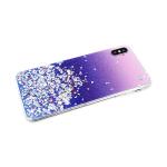 Силиконовый чехол Xiaomi Redmi 7 однотонный с блестками-кружочками, фиолетовый