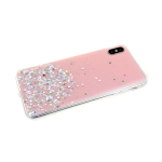 Силиконовый чехол Huawei Honor 9X однотонный с блестками-кружочками, розовый