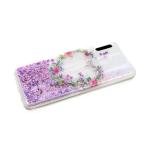 Задняя крышка Samsung Galaxy A20/A30 перламутровые жидкие блестки, сердце из цветов