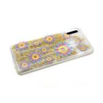 Задняя крышка Samsung Galaxy A20/A30 перламутровые жидкие блестки, желто-розово-синие цветочки