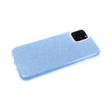 Силиконовый чехол Iphone 5/5S плотный с блестками, вырез для лого, синий