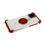 Силиконовый чехол Samsung Galaxy A10s прозрачный антишок с блестящим кольцом, красный