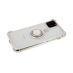 Силиконовый чехол Samsung Galaxy A50 прозрачный антишок с блестящим кольцом, серебро